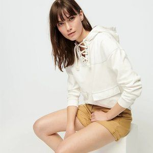 J. Crew Lace-up hoodie in original cotton terry
